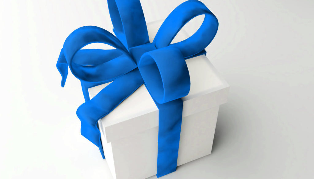 Single present isolated with large blue bows